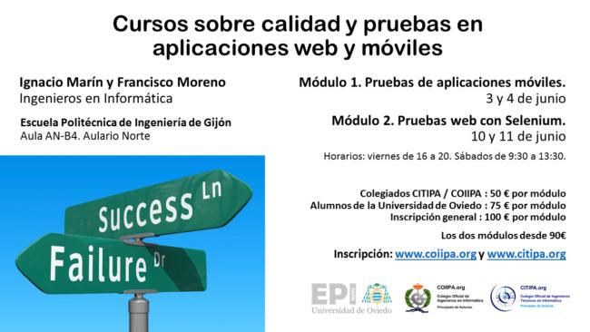 Cartel cursos calidad y pruebas de aplicaciones web y móviles