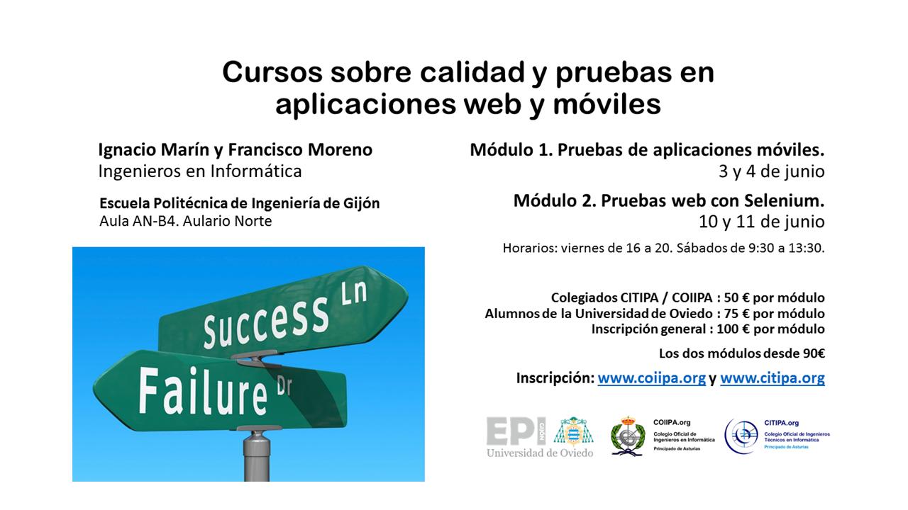 Cartel - cursos testing aplicaciones web y móviles