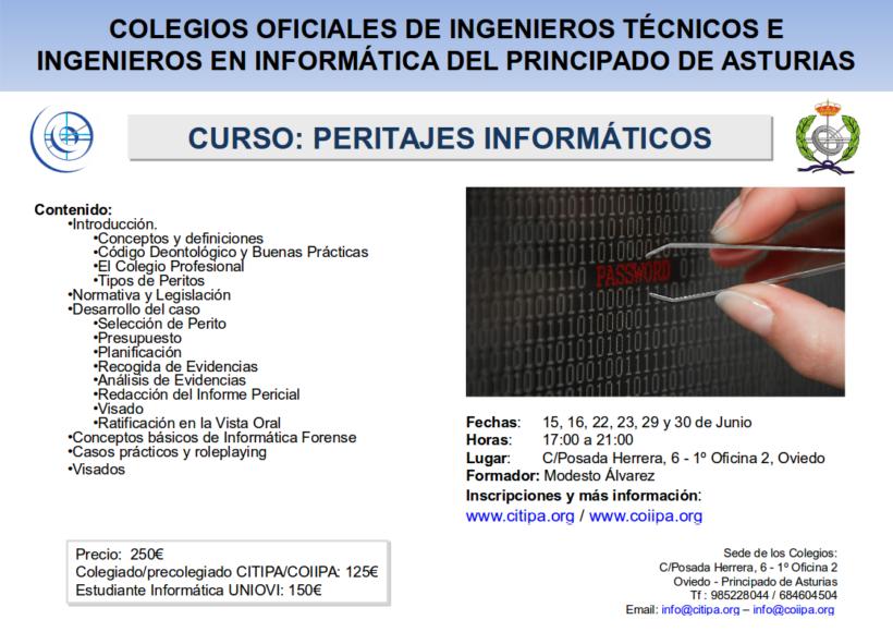 CartelCursoPeritajesInformaticos_CITIPA-COIIPA